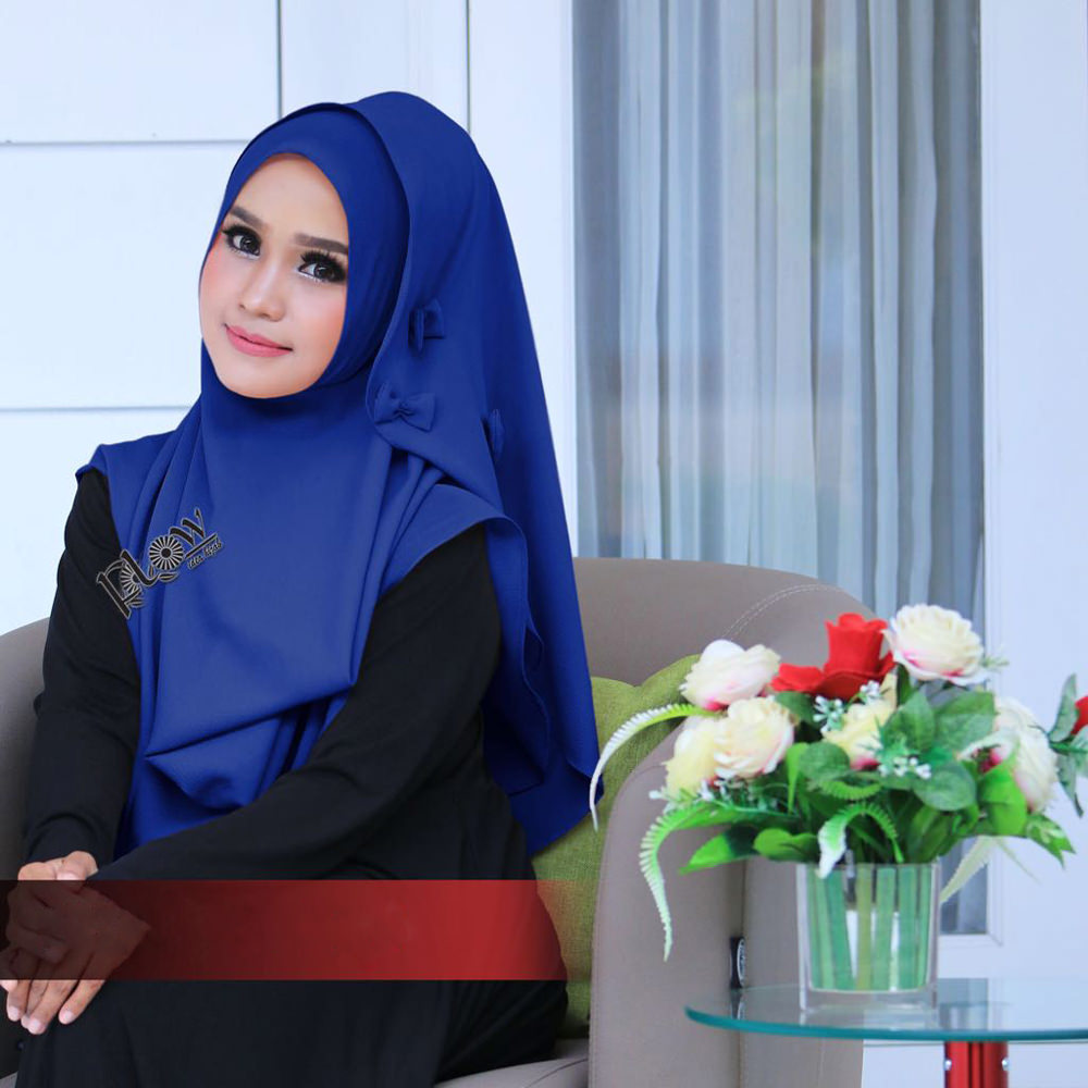 Jilbab Flowing Instant Ribboni Biru