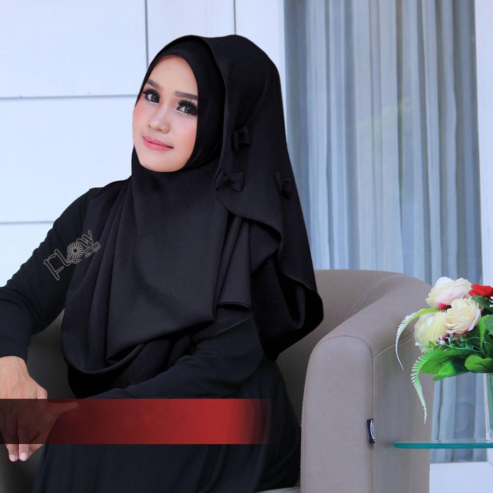 Jilbab Flowing Instant Ribboni Hitam