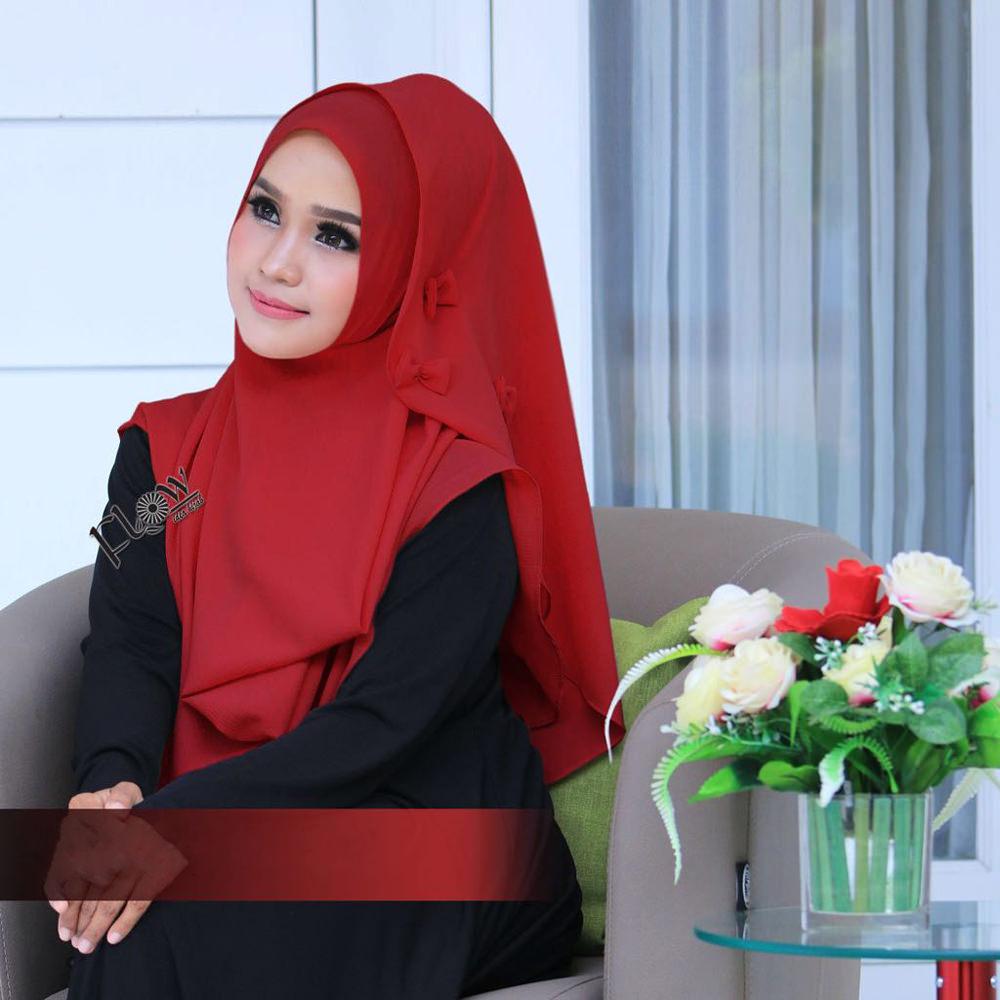 Jilbab Flowing Instant Ribboni Merah