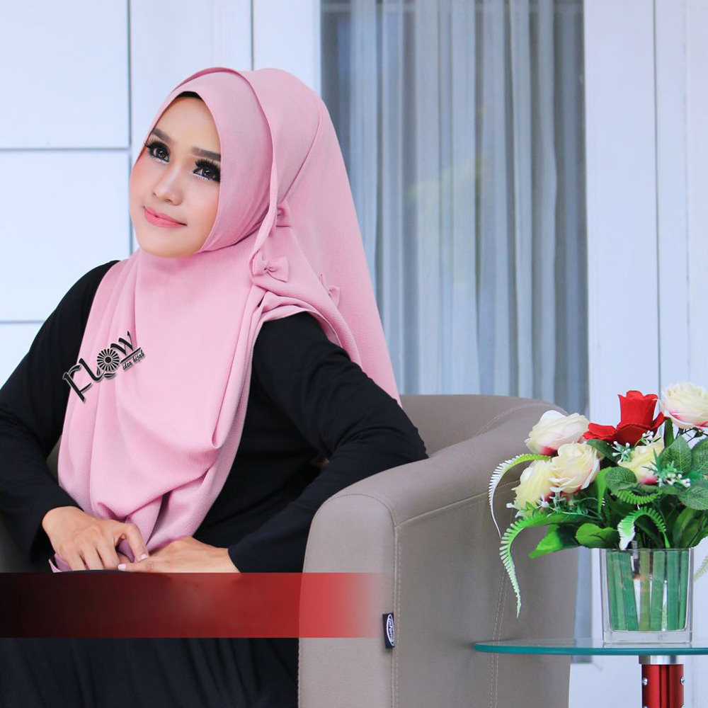 Jilbab Flowing Instant Ribboni Pink
