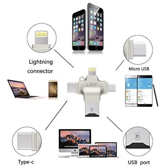 i-Flash Drive OTG 4 in 1 Card Reader iPhone Android 3