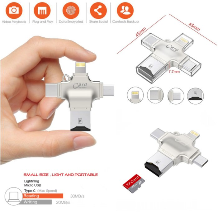 i-Flash Drive OTG 4 in 1 Card Reader iPhone Android 5